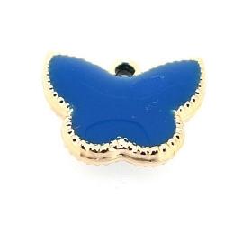 Resin, hanger, vlinder, blauw, 14 x 17 mm (6 st.)