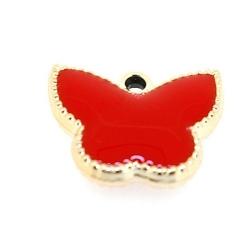 Resin, hanger, vlinder, rood, 14 x 17 mm (6 st.)