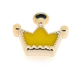 Resin, hanger, kroontje, geel, 18 x 18 mm (6 st.)