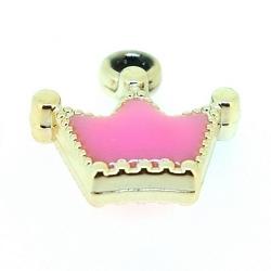 Resin, hanger, kroontje, roze, 18 x 18 mm (6 st.)