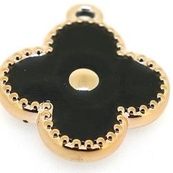Resin, hanger, bloem, zwart, 32 mm (3 st.)