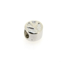 DQ metaal, leerschuiver, zilver, peaceteken, 10 mm, voor rond leer van max 4,4 mm (5 st.)