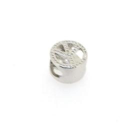 DQ metaal, leerschuiver, zilver, peaceteken, 10 mm, voor rond leer van max 6,7 mm (5 st.)