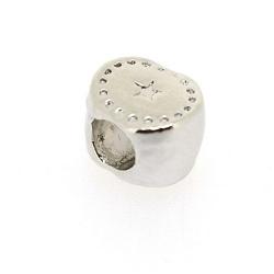DQ metaal, leerschuiver, zilver, ovaal, 10 x 8 mm, voor rond leer van max 4,6 mm (5 st.)