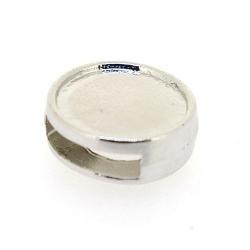 DQ, metalen leerschuiver, zilver, rond, 14 mm, t.b.v. 10 mm leer en 10 mm plaksteen (5 st.)
