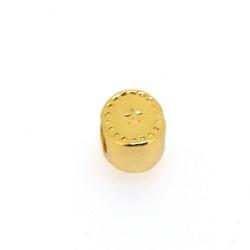 DQ metaal, leerschuiver, goud, ovaal, 10 x 8 mm, voor rond leer van max 4,6 mm (5 st.)