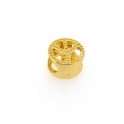 DQ metaal, leerschuiver, goud, peaceteken, 10 mm, voor rond leer van max 6,7 mm (5 st.)