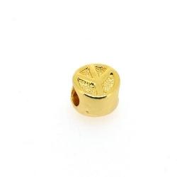 DQ metaal, leerschuiver, goud, peaceteken, 10 mm, voor rond leer van max 4,4 mm (5 st.)