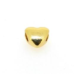 DQ metaal, leerschuiver, goud, hart, 10 mm, voor rond leer van max 4 mm (5 st.)