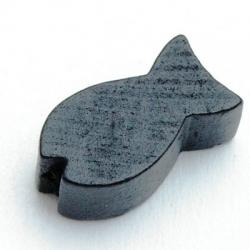Houten kraal, visje, zwart, 20 x 8 mm (25 st.)