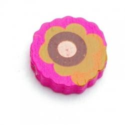 Houten kraal, rond met bloem, roze, 14 mm (30 st.)
