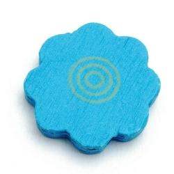 Houten kraal, bloem, turquoise, 22 mm (20 st.)