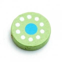 Houten kraal, rond, groen met turquoise stip, 16 mm (25 st.)
