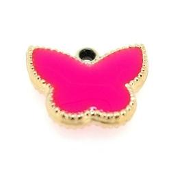 Resin, hanger, vlinder, felroze, 14 x 17 mm (6 st.)