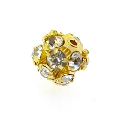Metalen kraal, rond, goud, strass, 8 mm (3 st.)