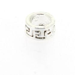 Metaal, leerschuiver, zilver, rond, 5 x 14 mm, voor rond leer/veter van max 6 mm (3 st.)