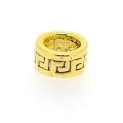 Metaal, leerschuiver, goud, rond, 5 x 14 mm, voor rond leer/veter van max 6 mm (3 st.)