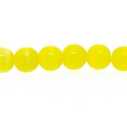 Catseye kraal rond geel 4 mm (streng)