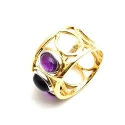 Ring, 14 Kt. goud, paarse steen, maat 20 (1 st.)