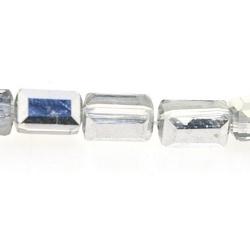 Glaskraal, rechthoek met facetten, zilver/transparant, 8 x 5 mm (20 stuks)
