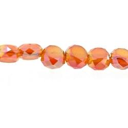 Facetkraal, rond met twee platte zijden, oranjerood, 4 mm (streng)