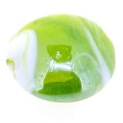 Glaskraal, groen met witte swirl, rond, plat, 16 mm (11 st.)