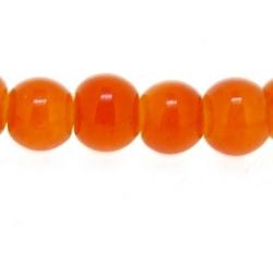 Glaskraal, rond, oranje, 4 mm (streng)