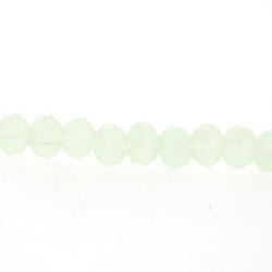 Glaskraal, donut met facetten, lichtgroen, 2 x 3 mm (streng)