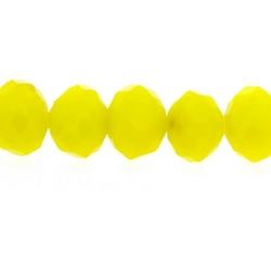 Glaskraal, donut met facetten, geel, 5 x 6 mm (streng)