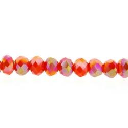 Glaskraal, donut met facetten, oranje, AB, 2 x 3 mm (streng)