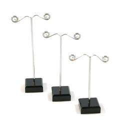 Oorbelstandaard, blokje zwart, set van 3