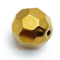 Glaskraal, rond met facetten, goud, 14 mm (5 st.)