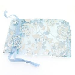Organzazakjes, lichtblauw/zilver, roos, 9 x 7 cm (5 st.)
