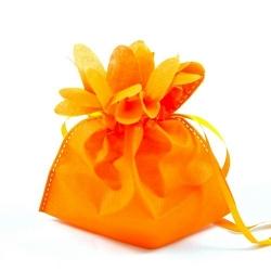 Cadeautasje, bloem, oranje, 18 x 17 cm (1 st.)