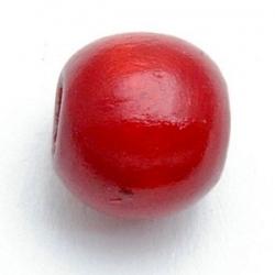 Houten kraal, rond, rood, 10 mm (10 st.)