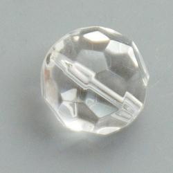 Glaskraal, rond met facetten, transp., 12 mm (5 st)