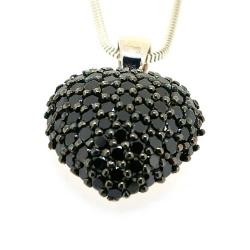 Ketting, sterling zilver, hanger, hart, zwart (1 st.)