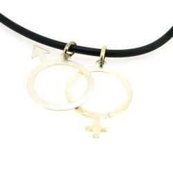 Ketting, zwart rubber, sterling zilveren man en vrouw hanger (1 st.)