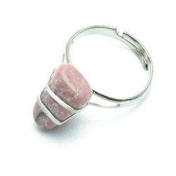 Ring, zilverkleurig, halfedelsteen, roze (1 st.)