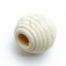 Houten kraal, rond met ribbels, naturel, 12 mm (10 st.)