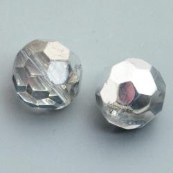 Glaskraal, rond met facetten, zilver/crystal, 16 mm (5 st.)