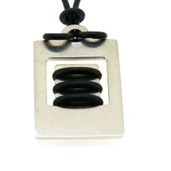 Ketting, zwart rubber, sterling zilveren hanger (1 st.)