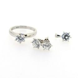 Sieradenset, ketting, hanger, ring (16.5) en oorbellen, zilver met zirkonia (1 set)
