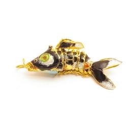 Hanger, cloissone, vis, donkerblauw, 36 mm (1 st.)