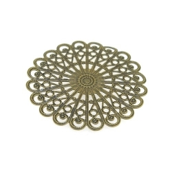 Ornament, filligrain, antique goud, 38 mm (3 st.)