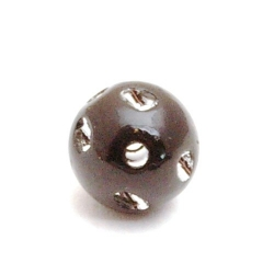Kunststof kraal rond zwart glittersteen 12 mm (20 st.)