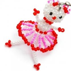 GSM hanger, Hello Kitty, roze/rood/beentjes, 50 mm (1 st.)