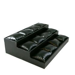 Displaydoos voor armbanden/horloges, pu leer, zwart, 3 verdiepingen, 12 kussentjes (1 st.)