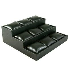 Displaydoos voor armbanden/horloges, pu leer, zwart, 3 verdiepingen, 9 kussentjes (1 st.)