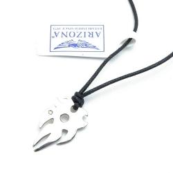 Ketting, zwart koord, sterling zilveren tribal hanger (1 st.)